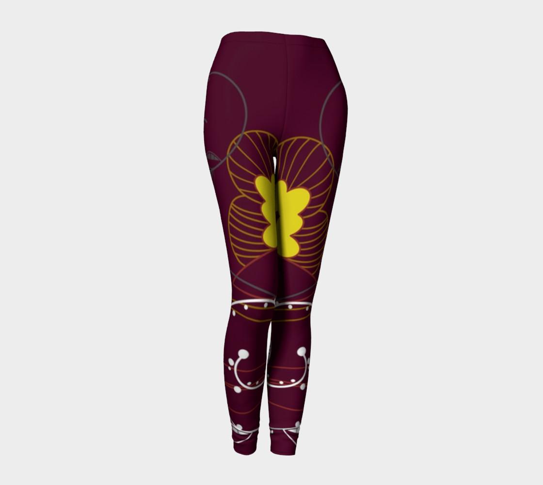 Purple Abstract Lotus Flower Leggings preview #1