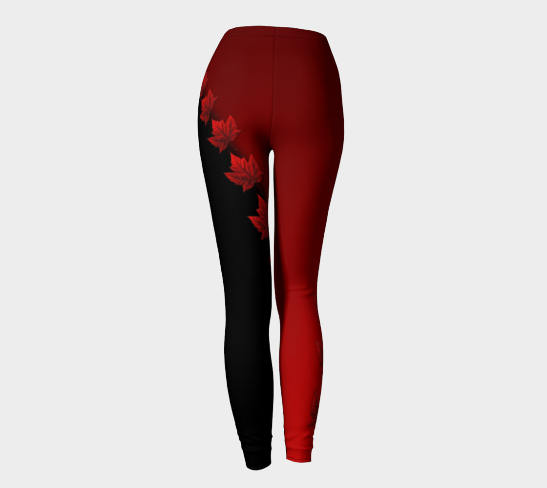 Canada Leggings Black Maple Leaf Stretchy Pants preview #4