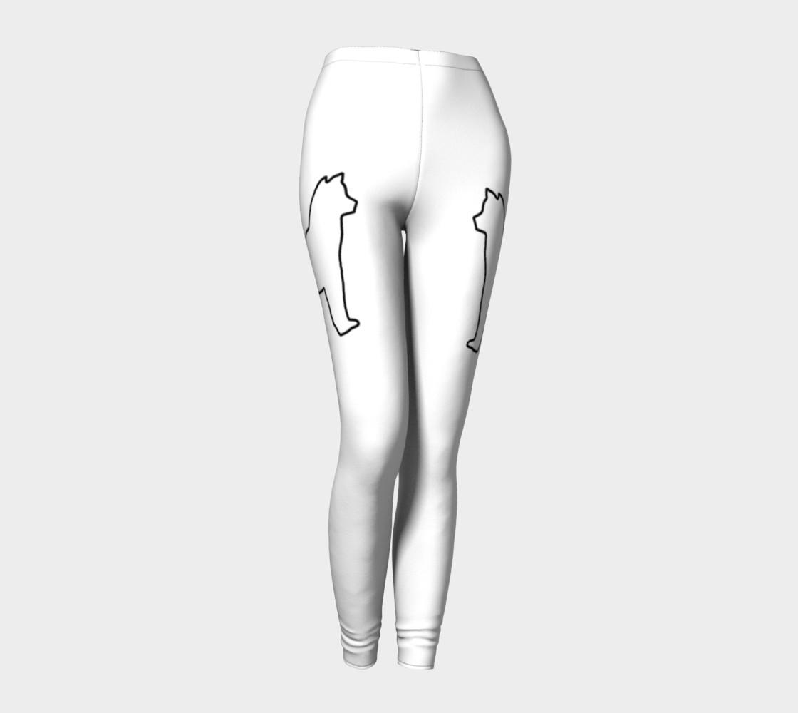 Shiba Inu White Silhouette Leggings preview #1