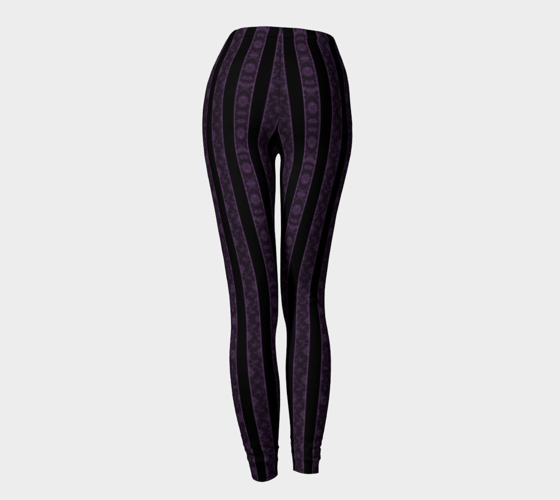 Iris Purple Striped Damask Goth Leggings preview #4