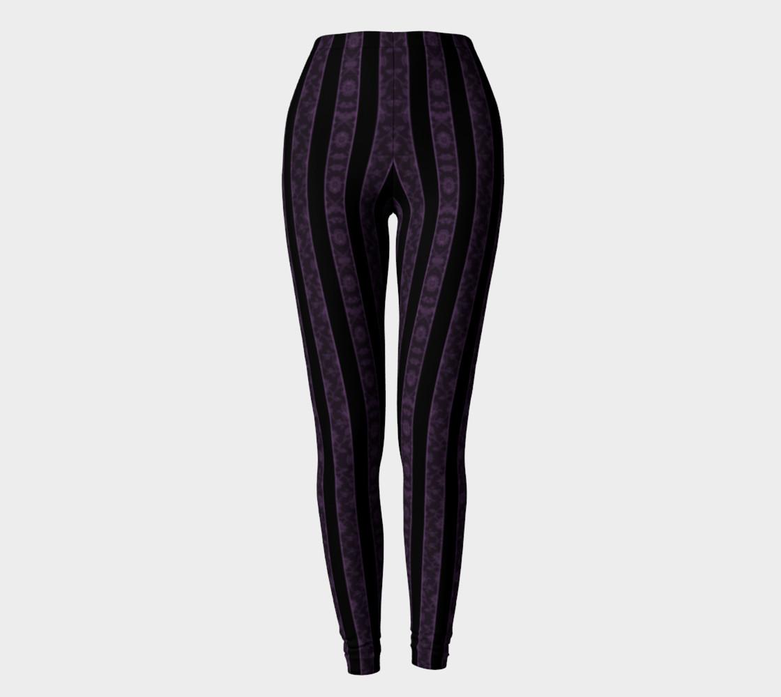 Iris Purple Striped Damask Goth Leggings preview #2
