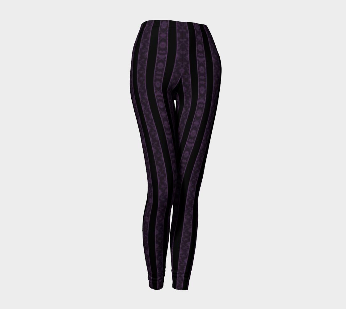 Iris Purple Striped Damask Goth Leggings preview #1