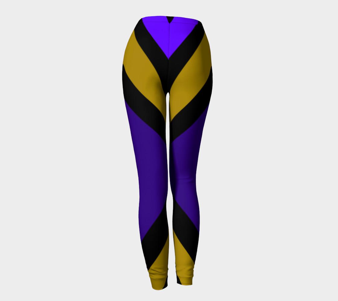 Dellan Print--Leggings in Purple, Gold, and Black Diagonal Stripes preview #4