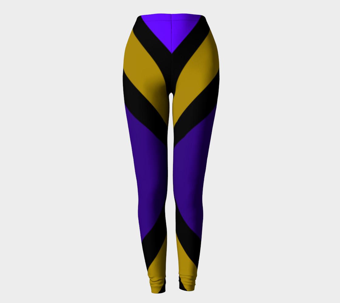 Dellan Print--Leggings in Purple, Gold, and Black Diagonal Stripes preview #2
