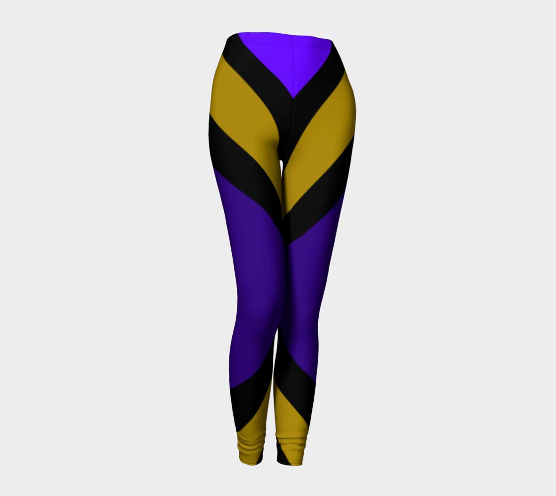 Dellan Print--Leggings in Purple, Gold, and Black Diagonal Stripes preview #1