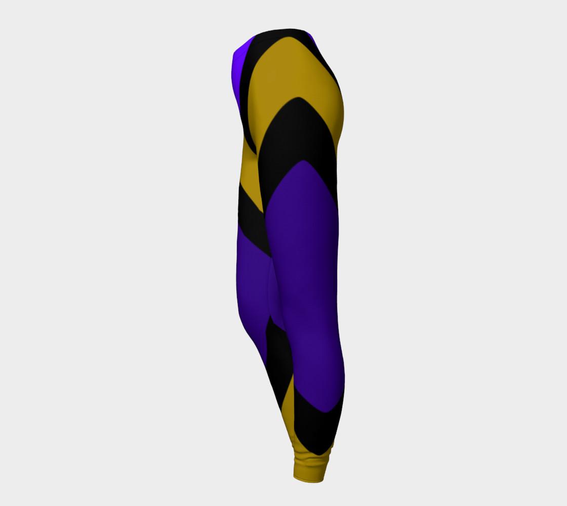 Dellan Print--Leggings in Purple, Gold, and Black Diagonal Stripes preview #3
