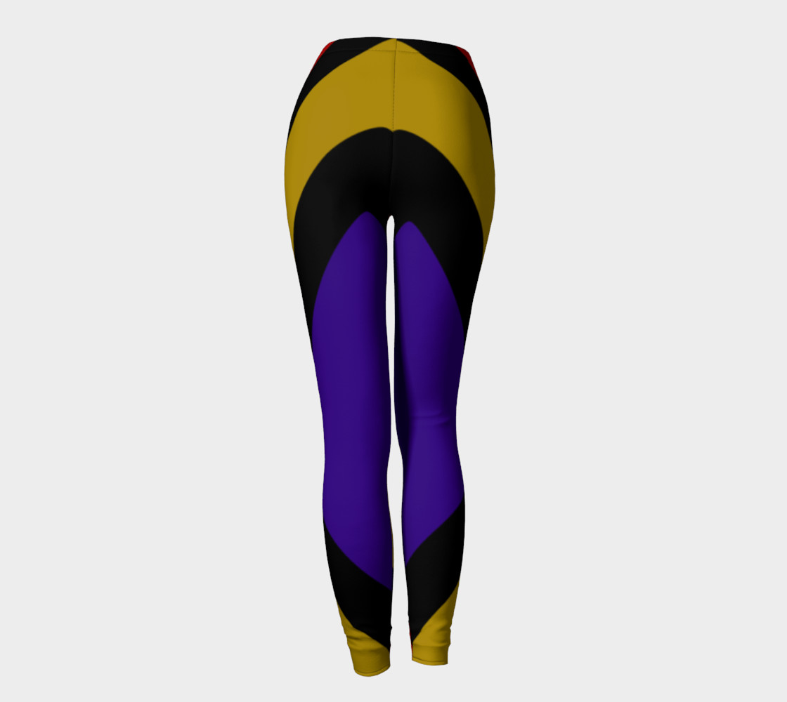 Ulla Print--Leggings, Multi-Color Rounded Boxes on Black Background--Red, Purple, Gold preview #4