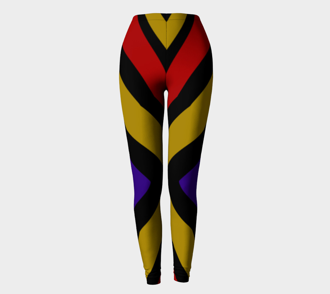 Ulla Print--Leggings, Multi-Color Rounded Boxes on Black Background--Red, Purple, Gold preview #2