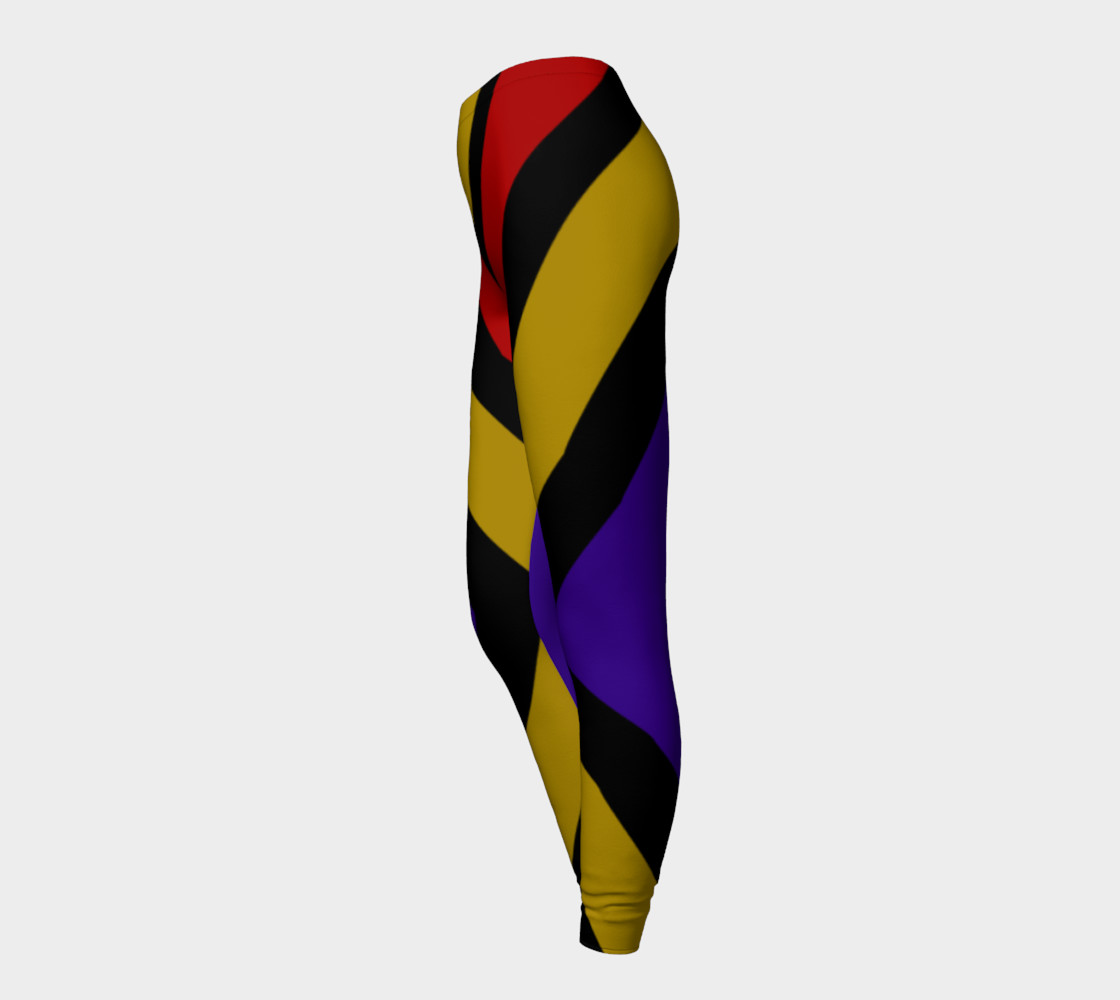 Ulla Print--Leggings, Multi-Color Rounded Boxes on Black Background--Red, Purple, Gold preview #3