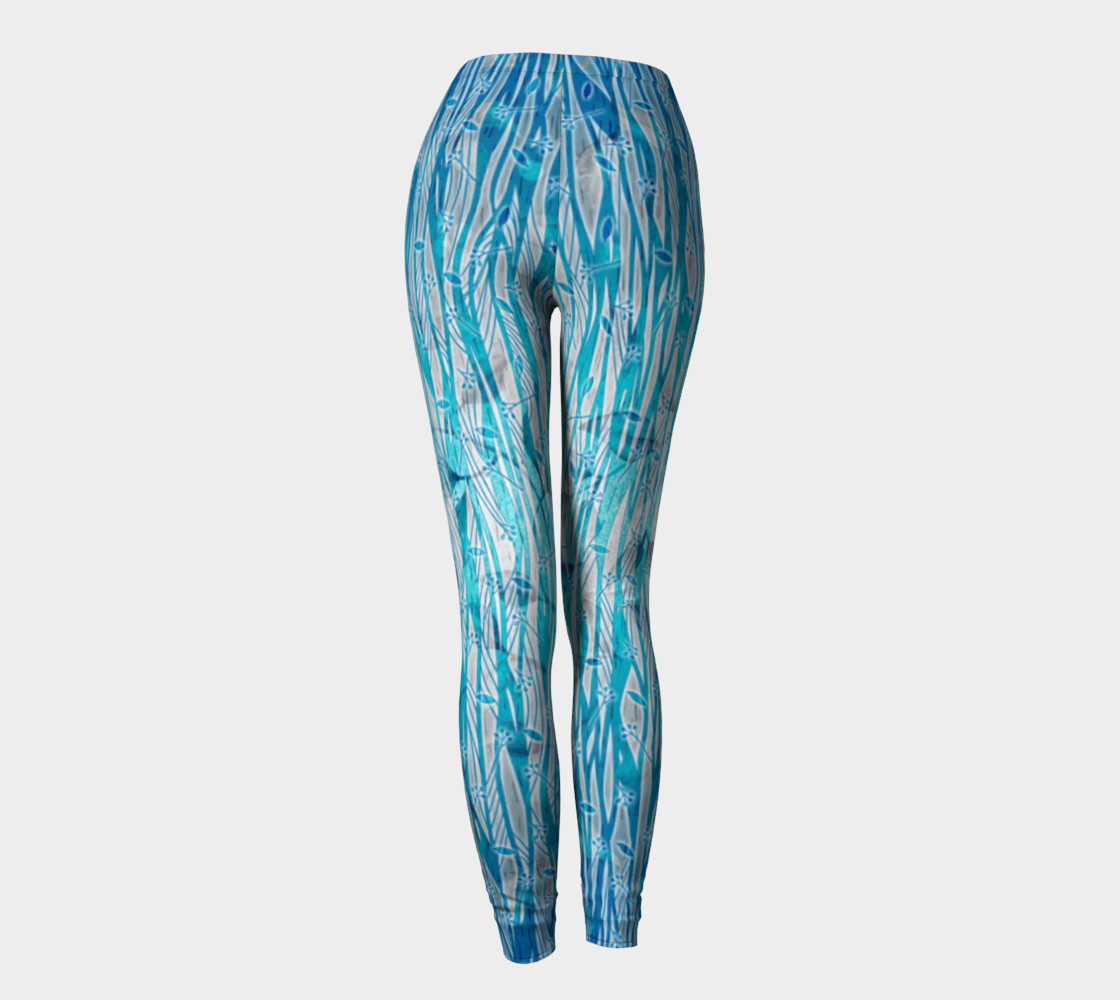 Blue Turquoise Silver Leafy Floral Leggings preview #4
