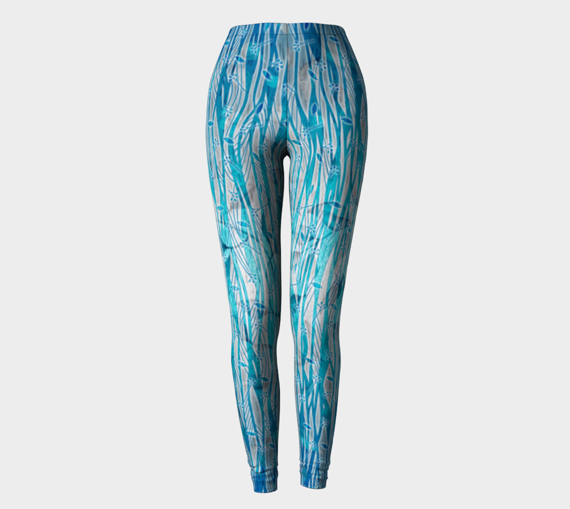 Blue Turquoise Silver Leafy Floral Leggings preview #2