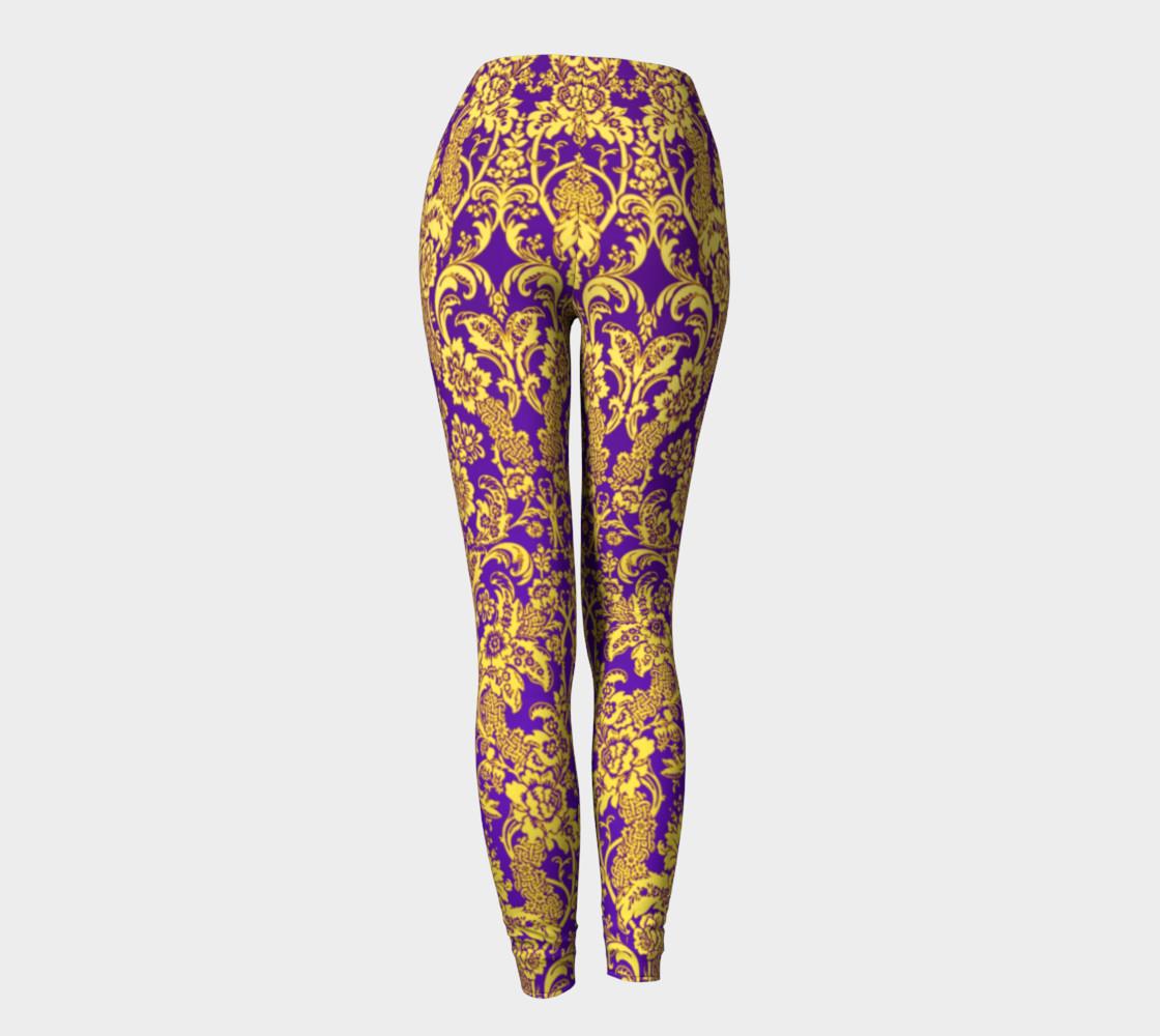 Aperçu de damask in purple and gold #4