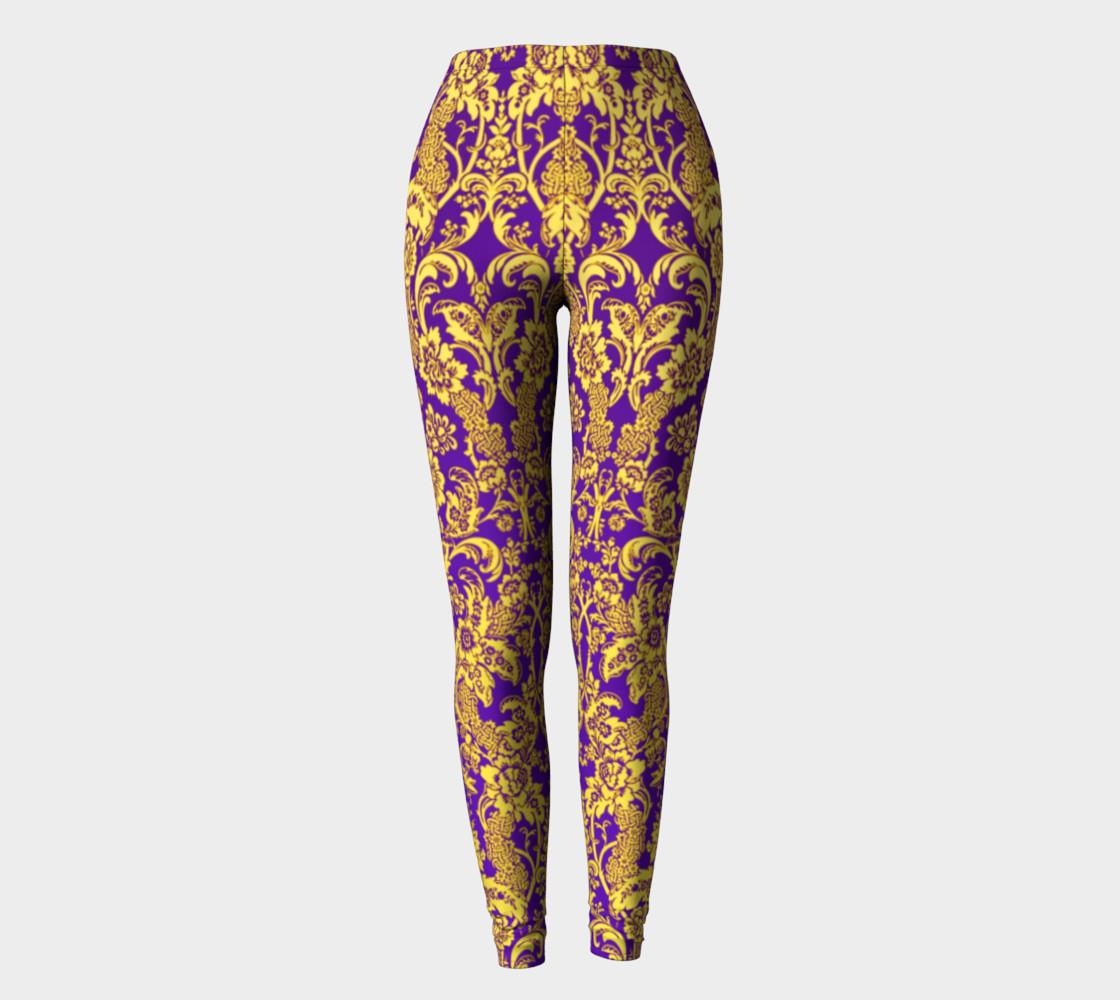 Aperçu de damask in purple and gold #2