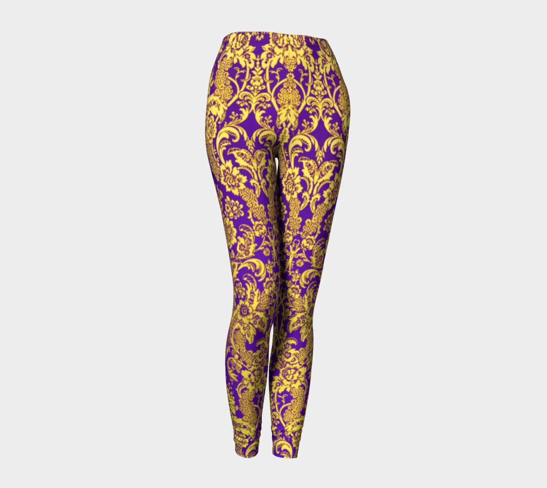 Aperçu de damask in purple and gold #1