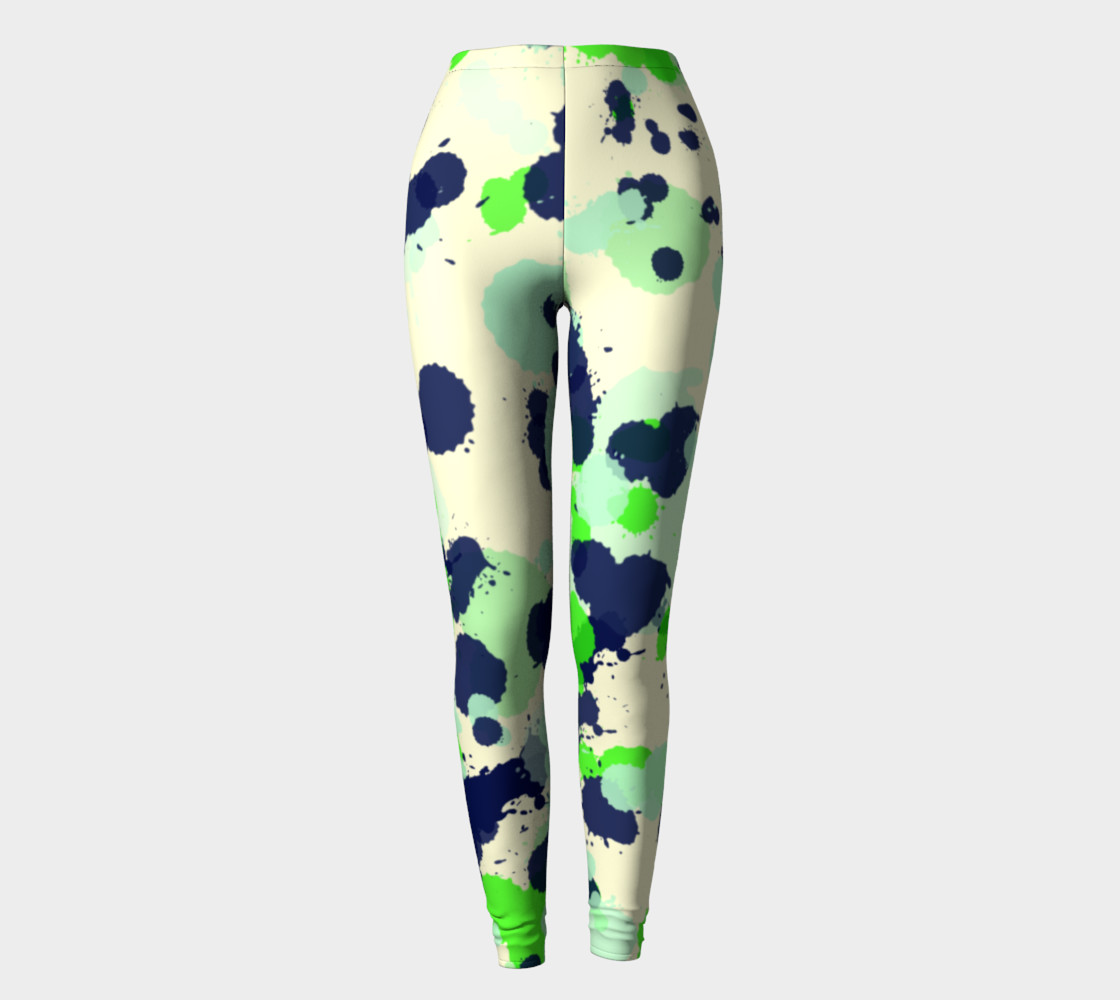 Green and navy Splatter Abstract preview #2