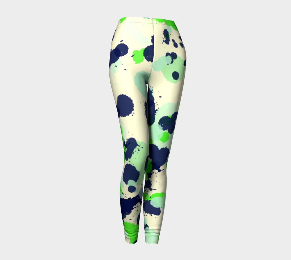 Green and navy Splatter Abstract preview #1