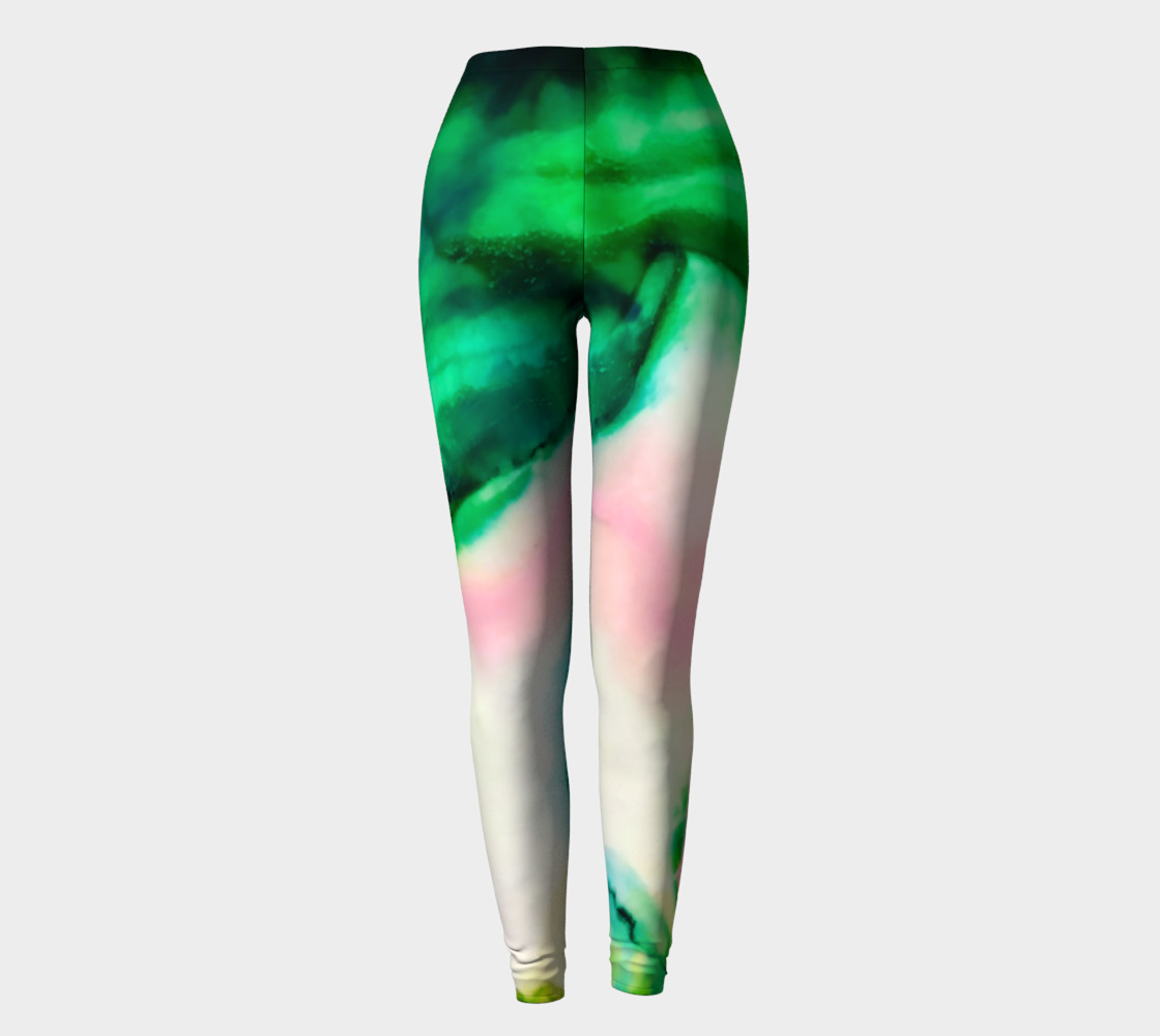 Green Pink Marble Abstract Painting Leggings preview #2