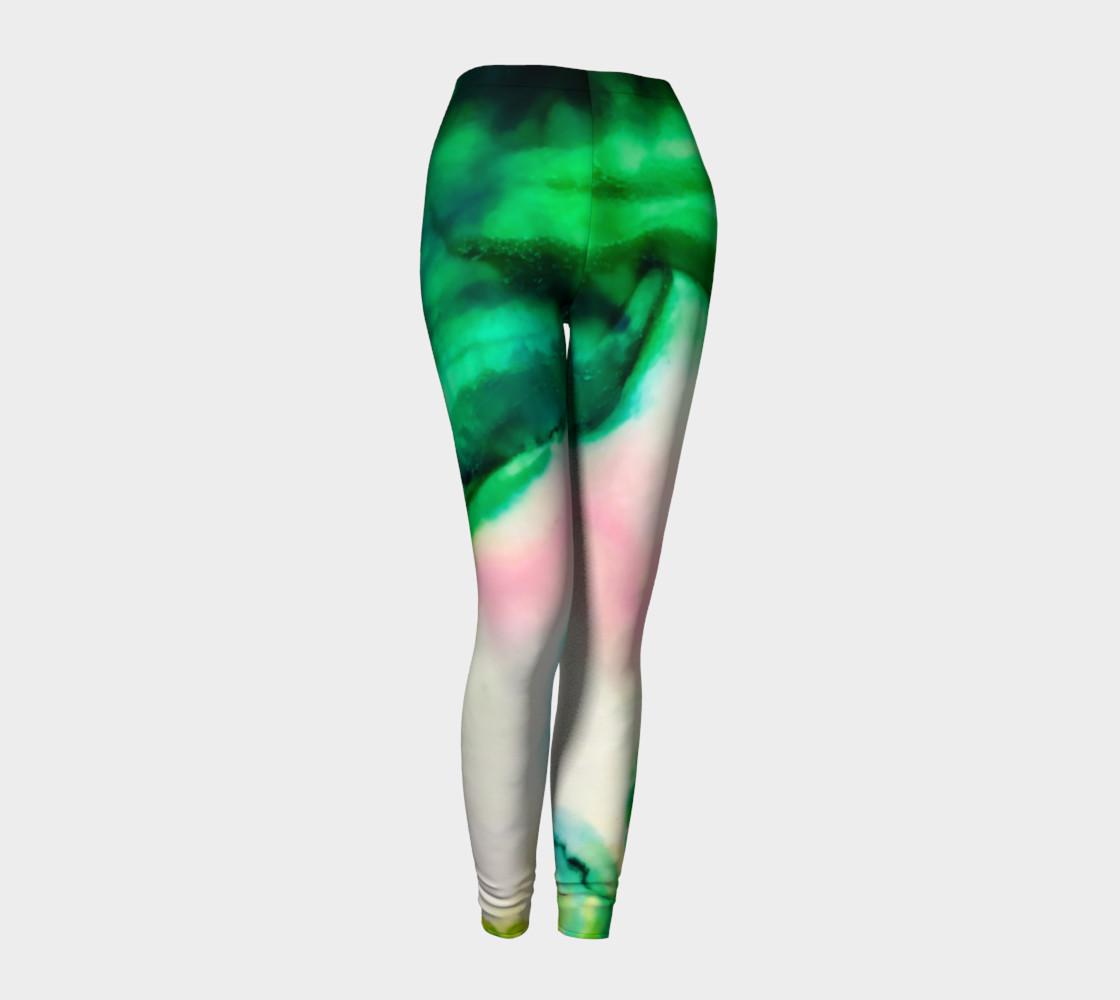 Aperçu de Green Pink Marble Abstract Painting Leggings #1