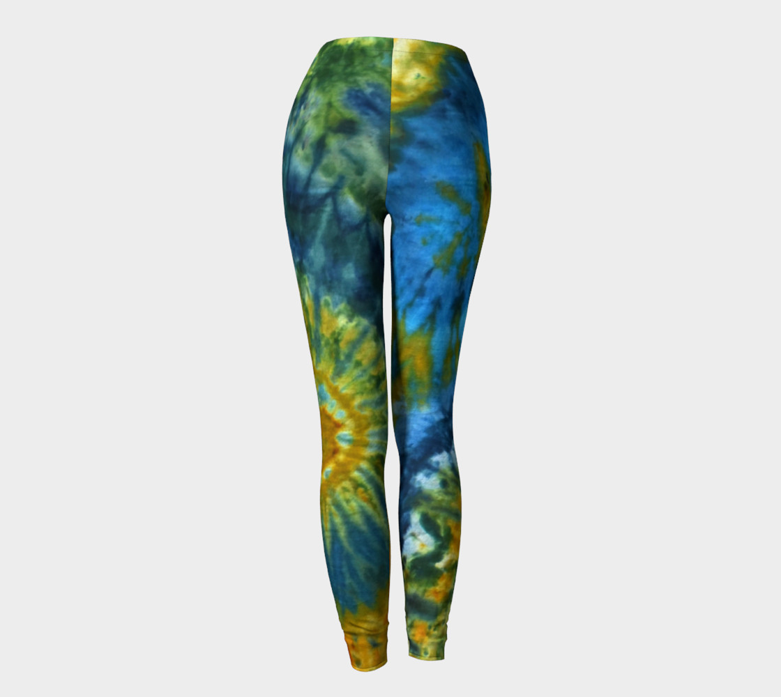 Blue Yellow Spirals Leggings preview #4