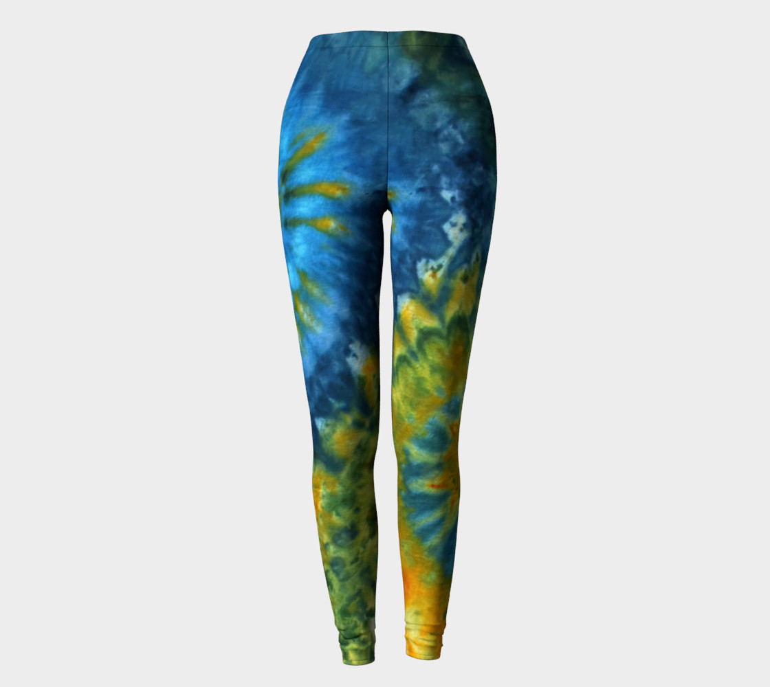 Blue Yellow Spirals Leggings preview #2