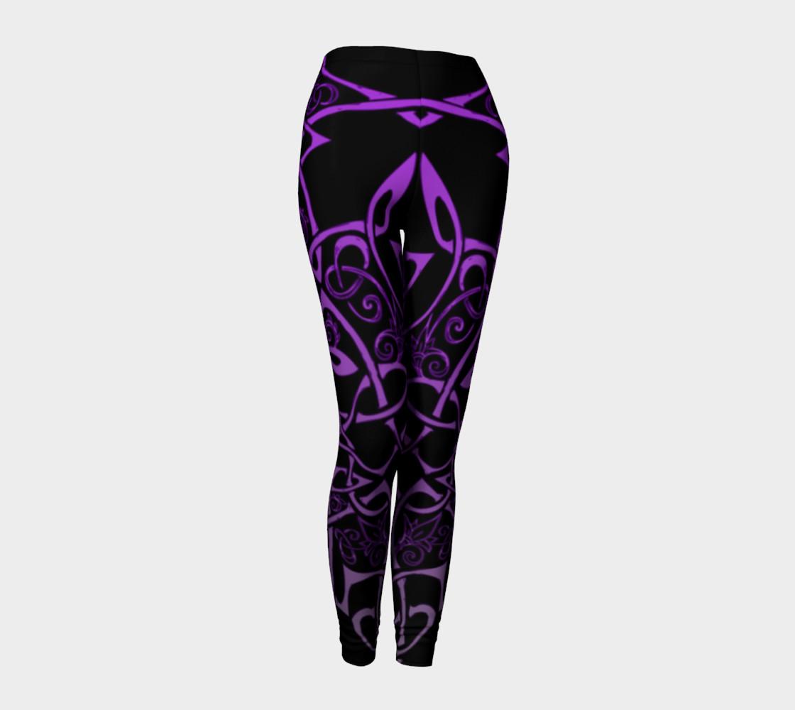 Purple Celtic Ombre Leggings, Celtic Branches, Celtic Flowers preview #1