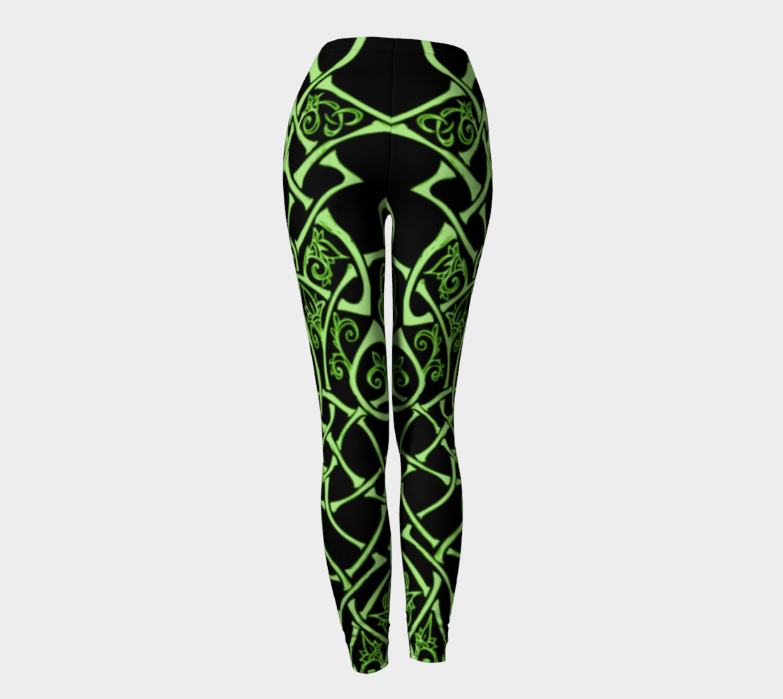 Aperçu de Celtic Knot Branches, Electric Green, Flowers, Leggings #4