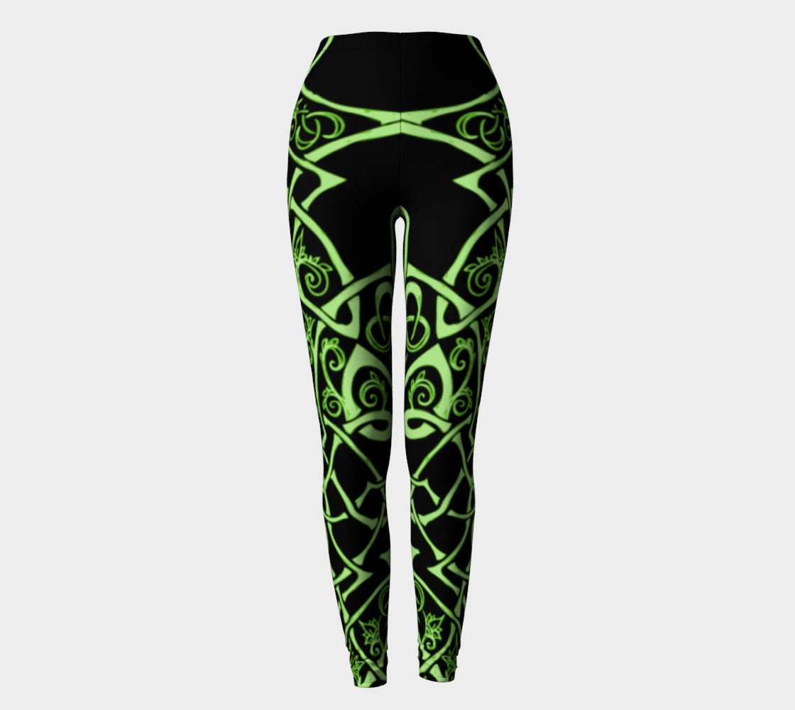 Aperçu de Celtic Knot Branches, Electric Green, Flowers, Leggings #2