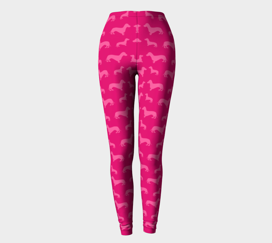 Hot pink dachshund leggings preview #2