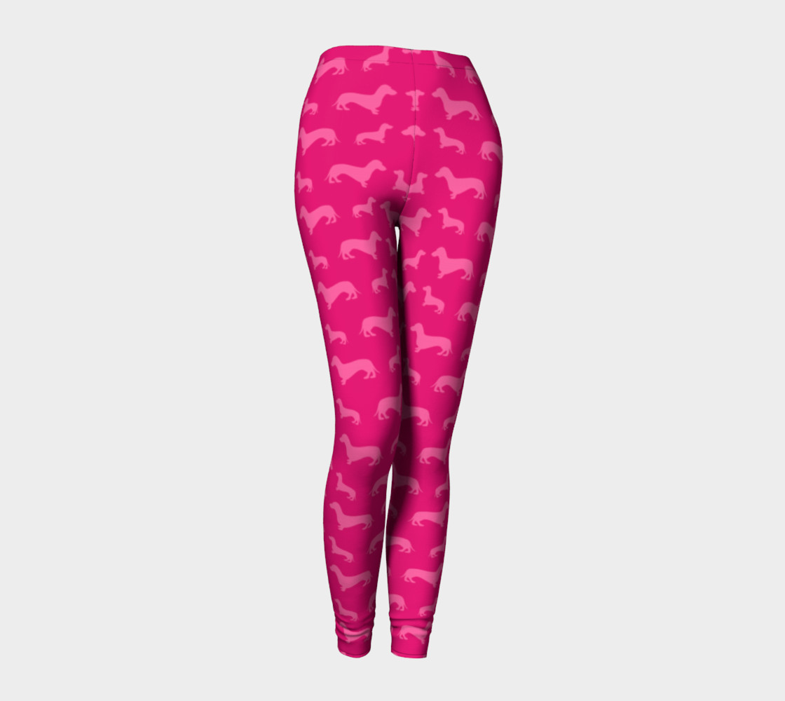 Hot pink dachshund leggings preview #1