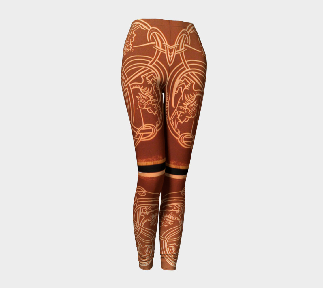 Aperçu de Ochre Celtic Knot Copper Cat Leggings #1