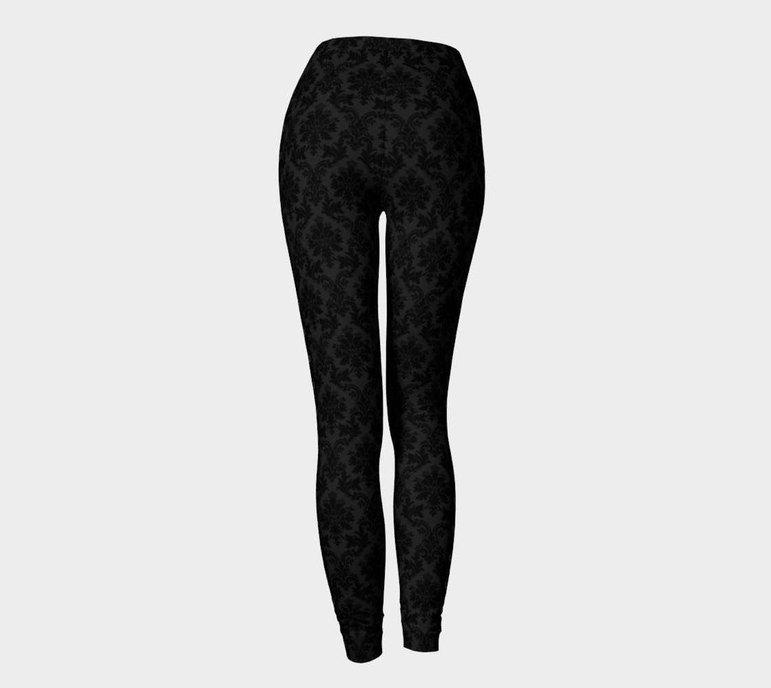 Black on Black Damask Side Corsetted Leggings preview #4