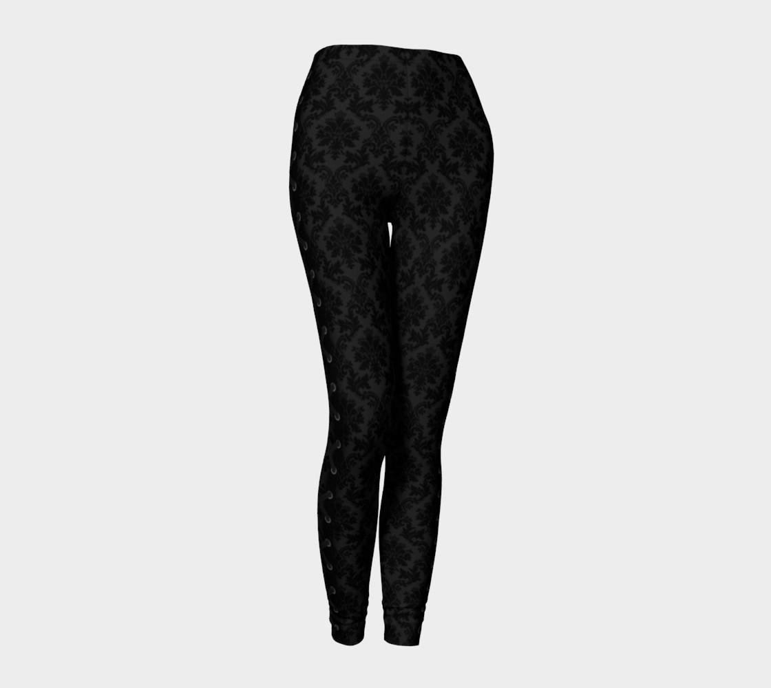 Black on Black Damask Side Corsetted Leggings preview #1