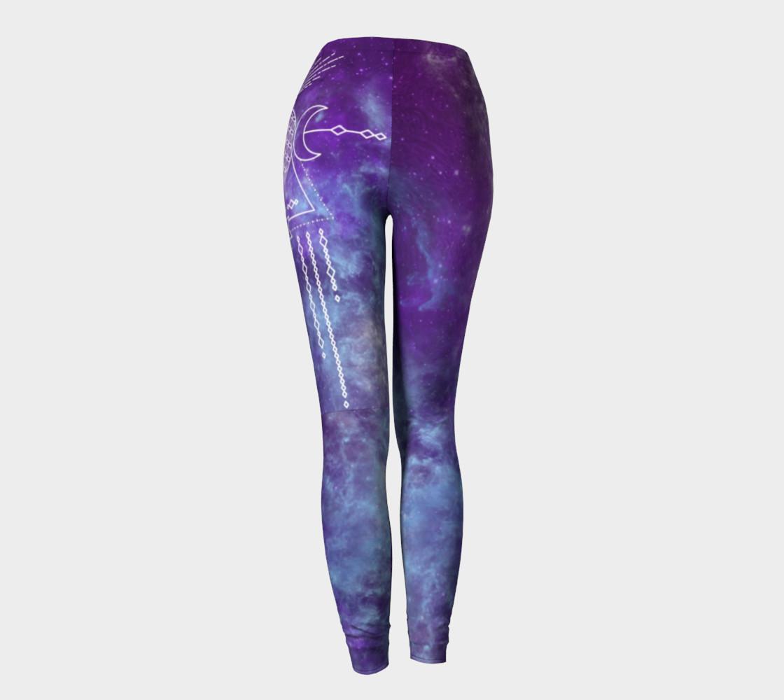 Aperçu de Flower of Life Geometry Moon Boho Purple Leggings #4