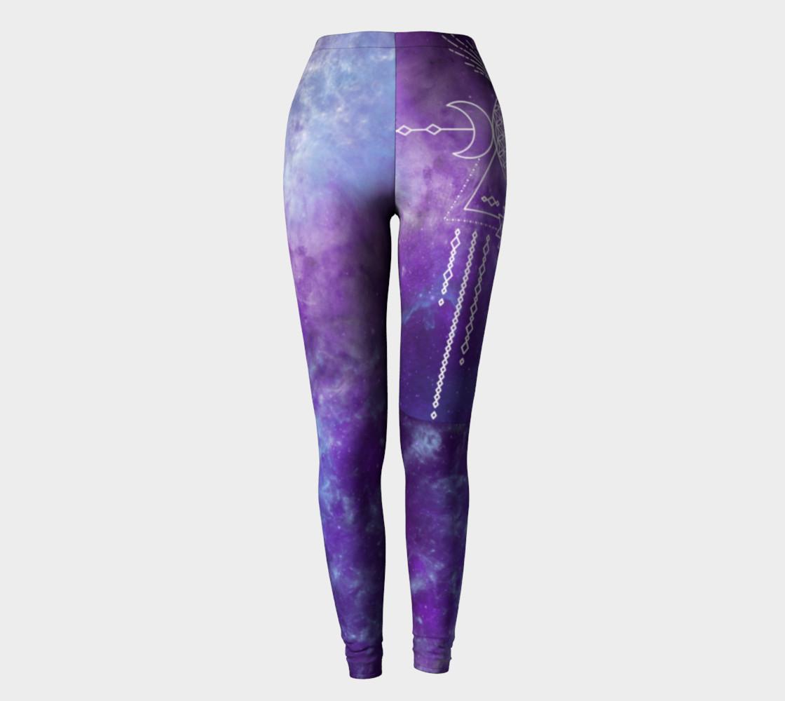Aperçu de Flower of Life Geometry Moon Boho Purple Leggings #2