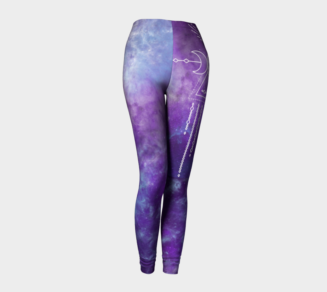 Aperçu de Flower of Life Geometry Moon Boho Purple Leggings #1