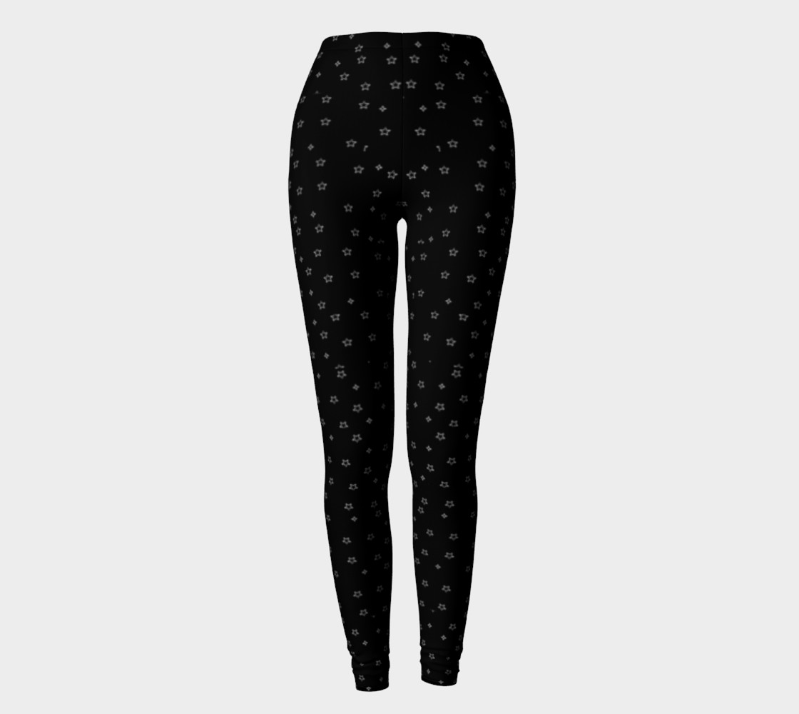 Black leggings with white stars preview #2
