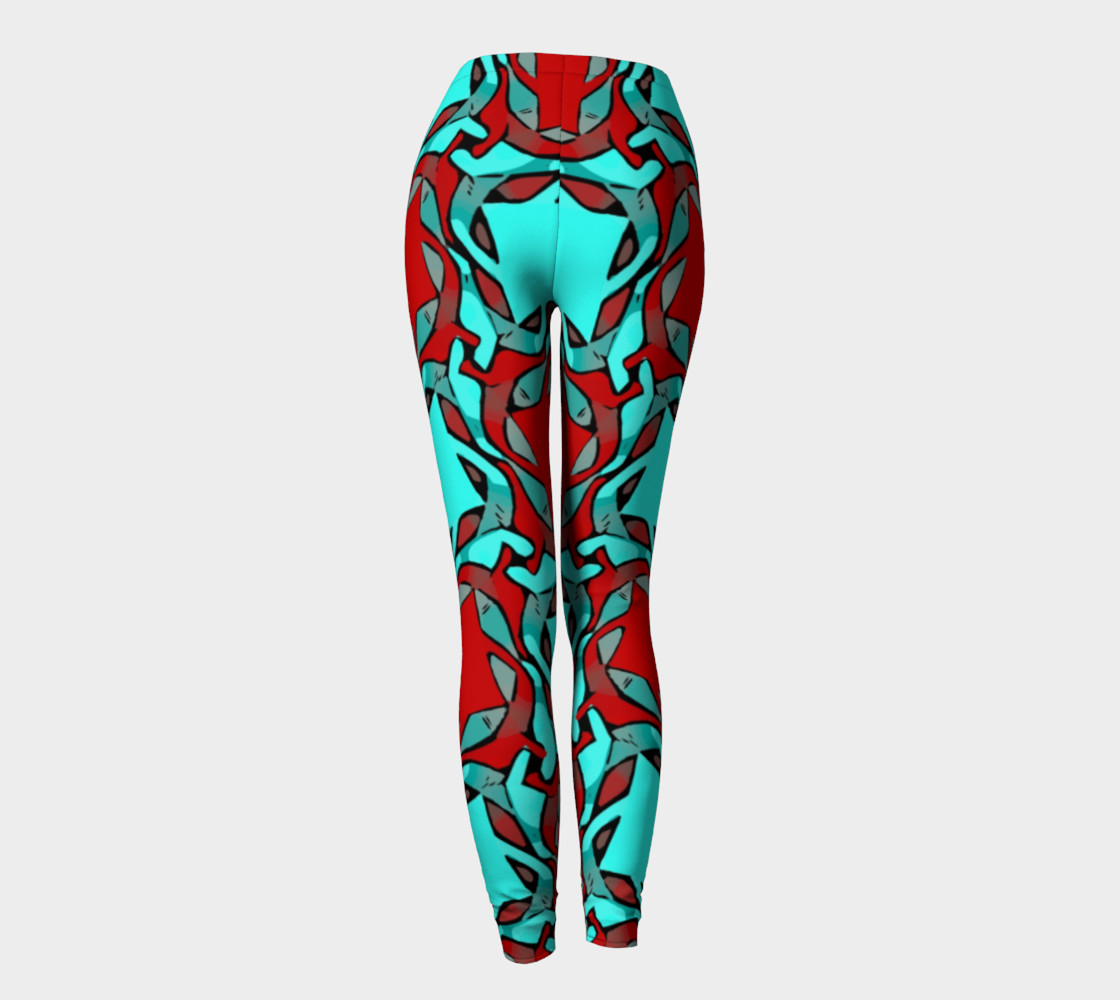 Red Turquoise Geometric All Over Print leggings  preview #4