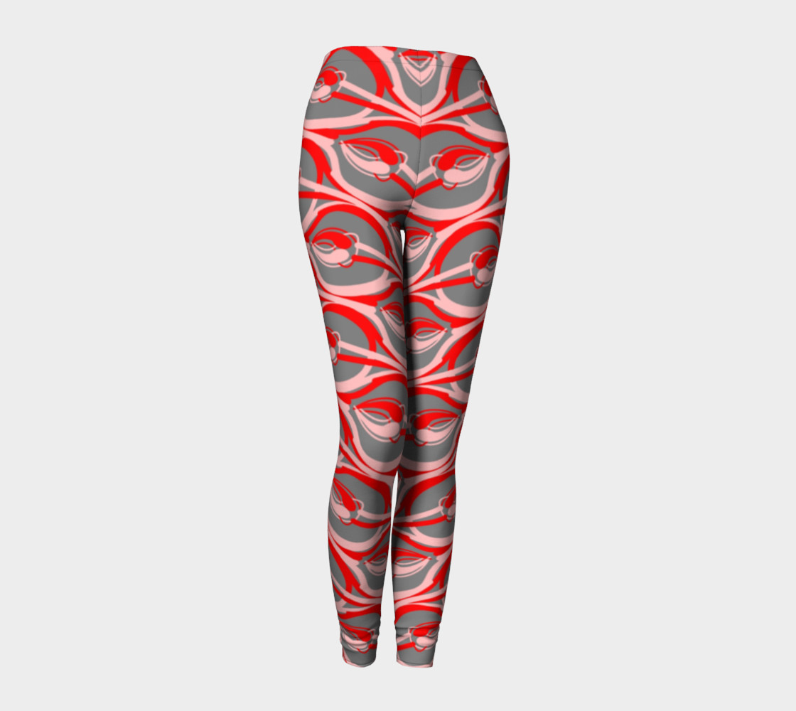 Pink Red Swirls All Over Print Leggings  preview #1