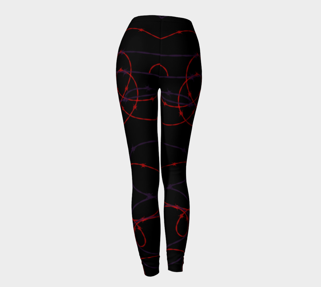 Gothic Barbed Wire Print Leggings by Tabz Jones preview #4