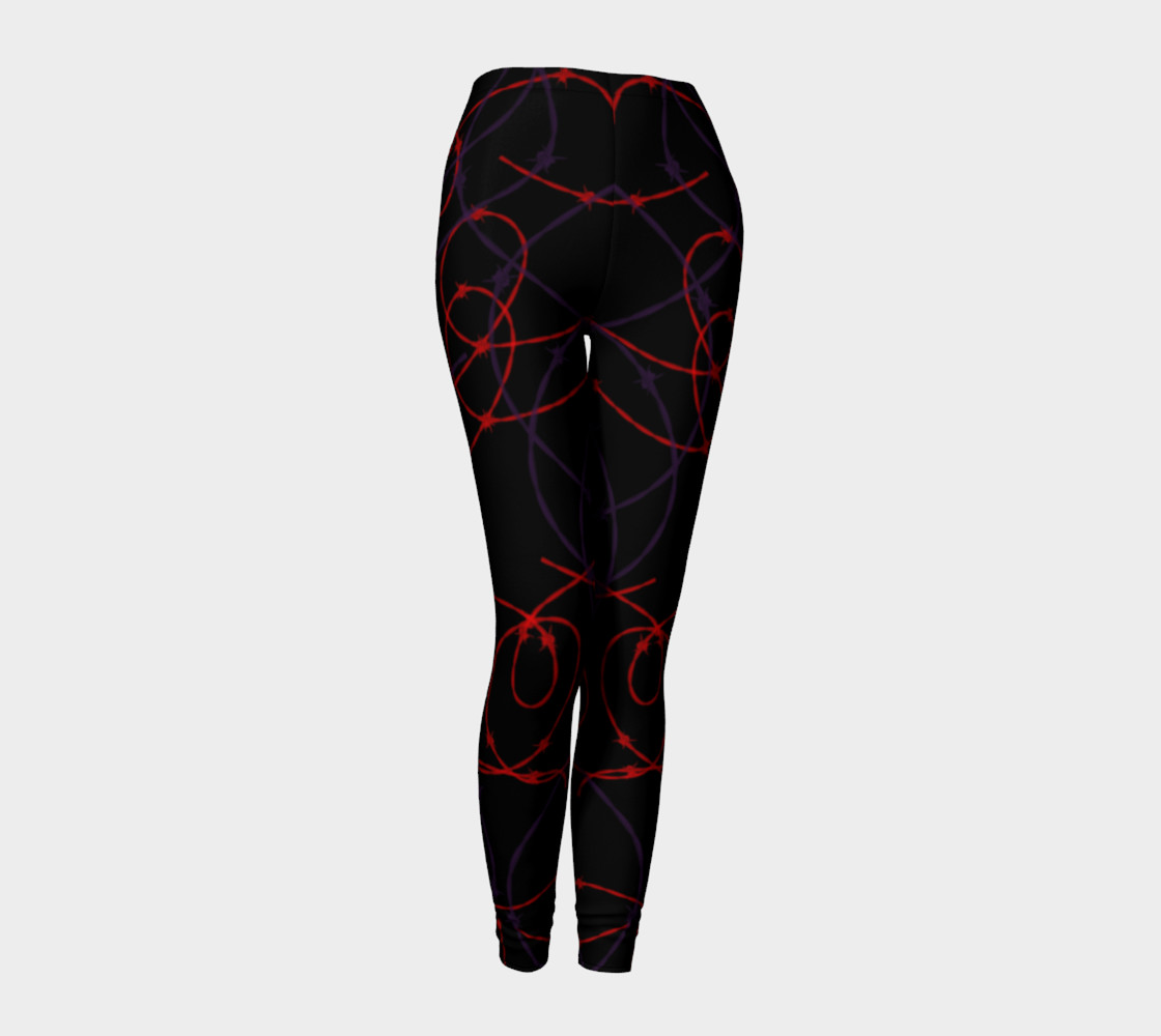 Gothic Barbed Wire Print Leggings by Tabz Jones preview #1