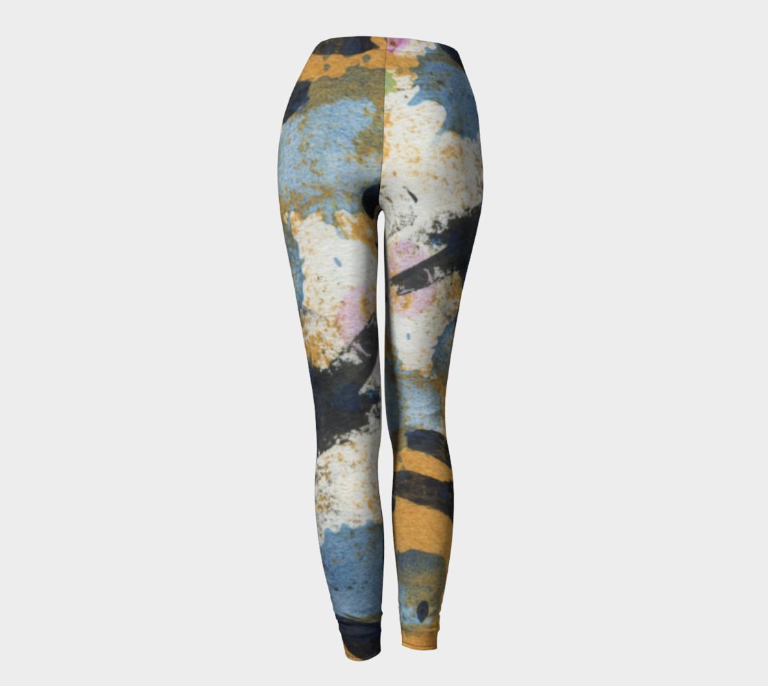 ocher and blue abstract leggings preview #4