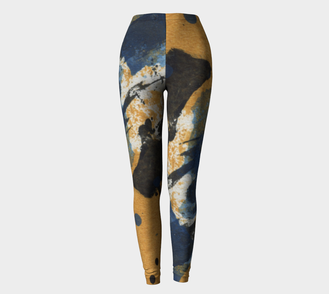ocher and blue abstract leggings preview #2