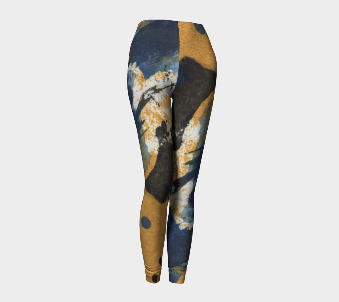 ocher and blue abstract leggings preview #1