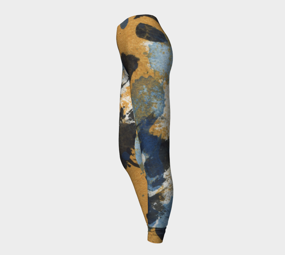 ocher and blue abstract leggings preview #3