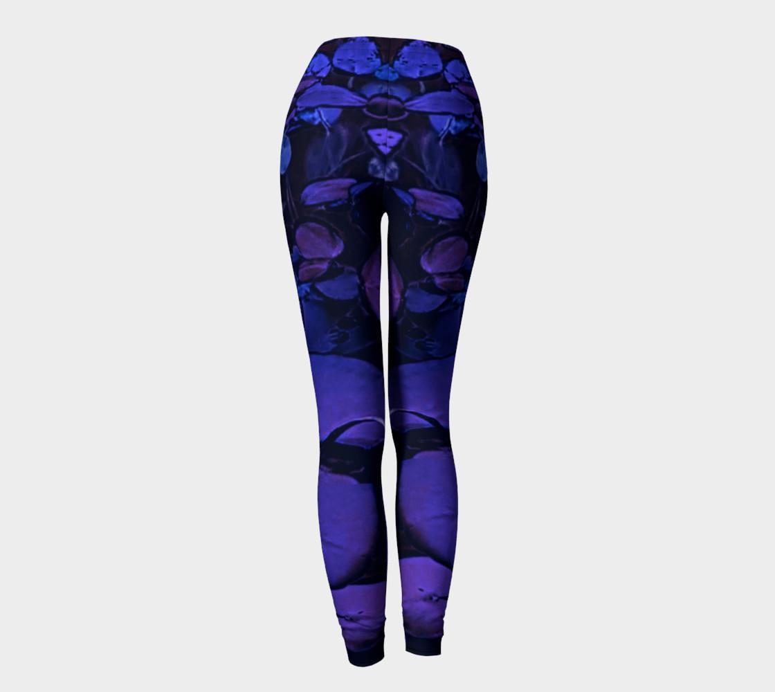 Lotus Flower Purple Turquoise Leggings preview #4