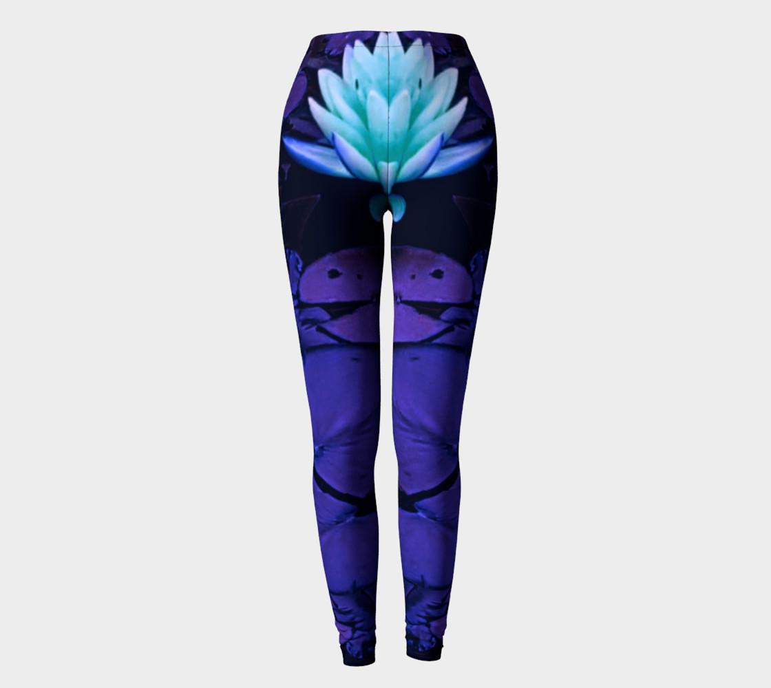 Lotus Flower Purple Turquoise Leggings preview #2