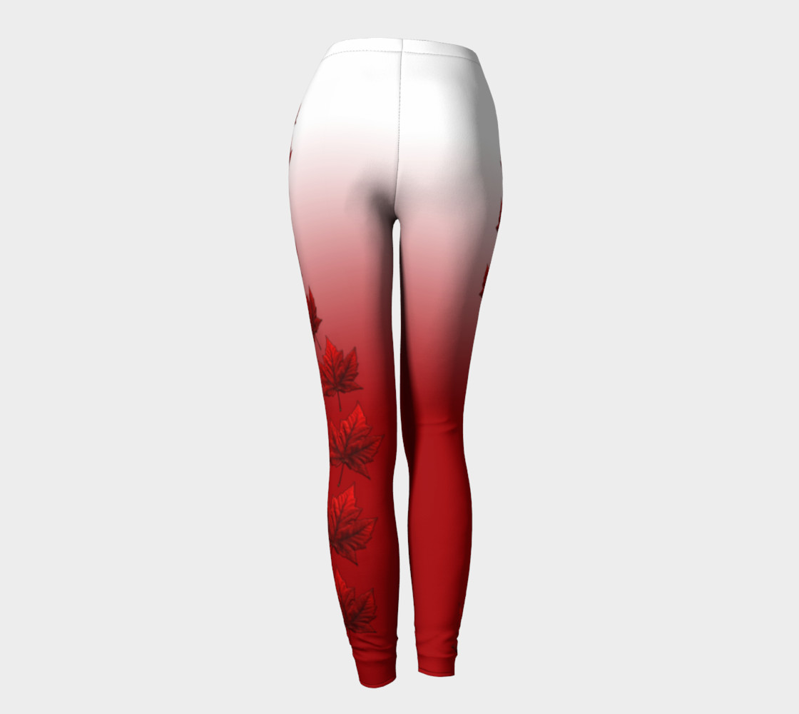 Canada Leggings Red and White Canada Maple Leaf Leggings preview #4