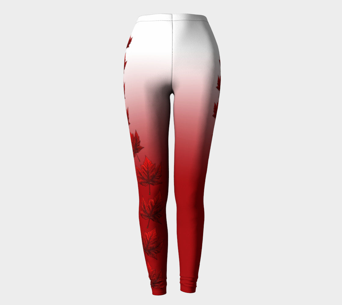 Canada Leggings Red and White Canada Maple Leaf Leggings preview #2