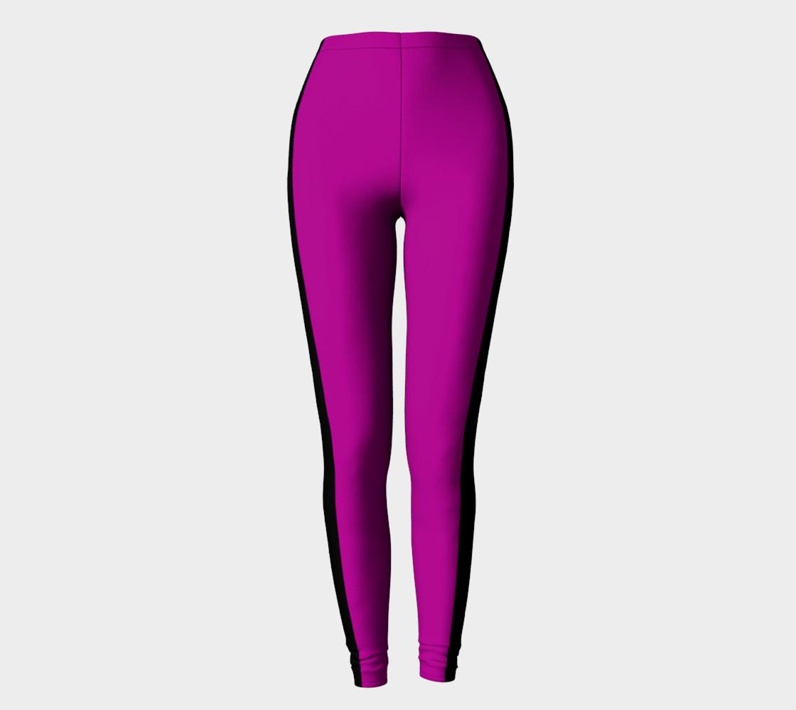 Purple with Black Side Stripe Leggings preview #2