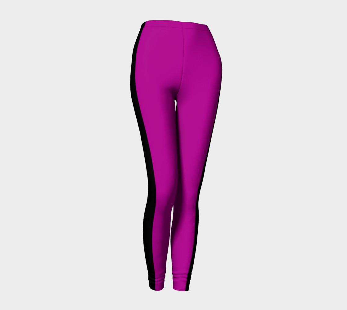 Purple with Black Side Stripe Leggings preview #1